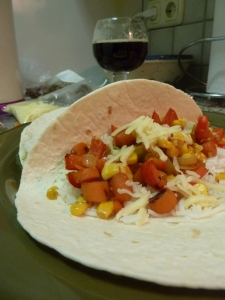 Veggie Fajitas with carrots, corn, onion, rice and cheese